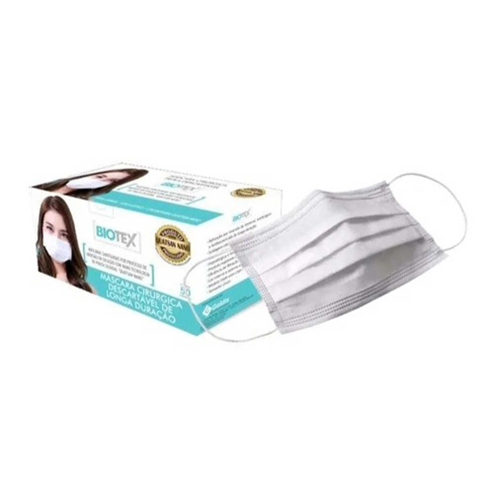 Máscara Branca Descartável - Triplas TNT com Elástico e Clip Nasal - Acima de 50 unidades