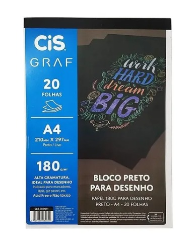 BLOCO BRETO PARA DESENHO 200 FOLHAS 180G GRAF CIS