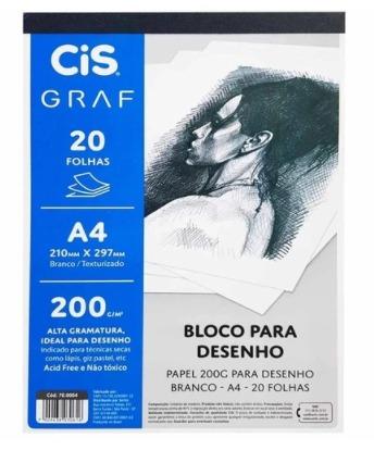 BLOCO PAPEL BRANCO PARA DESENHO A4 20 FOLHAS 200G/M GRAF CIS