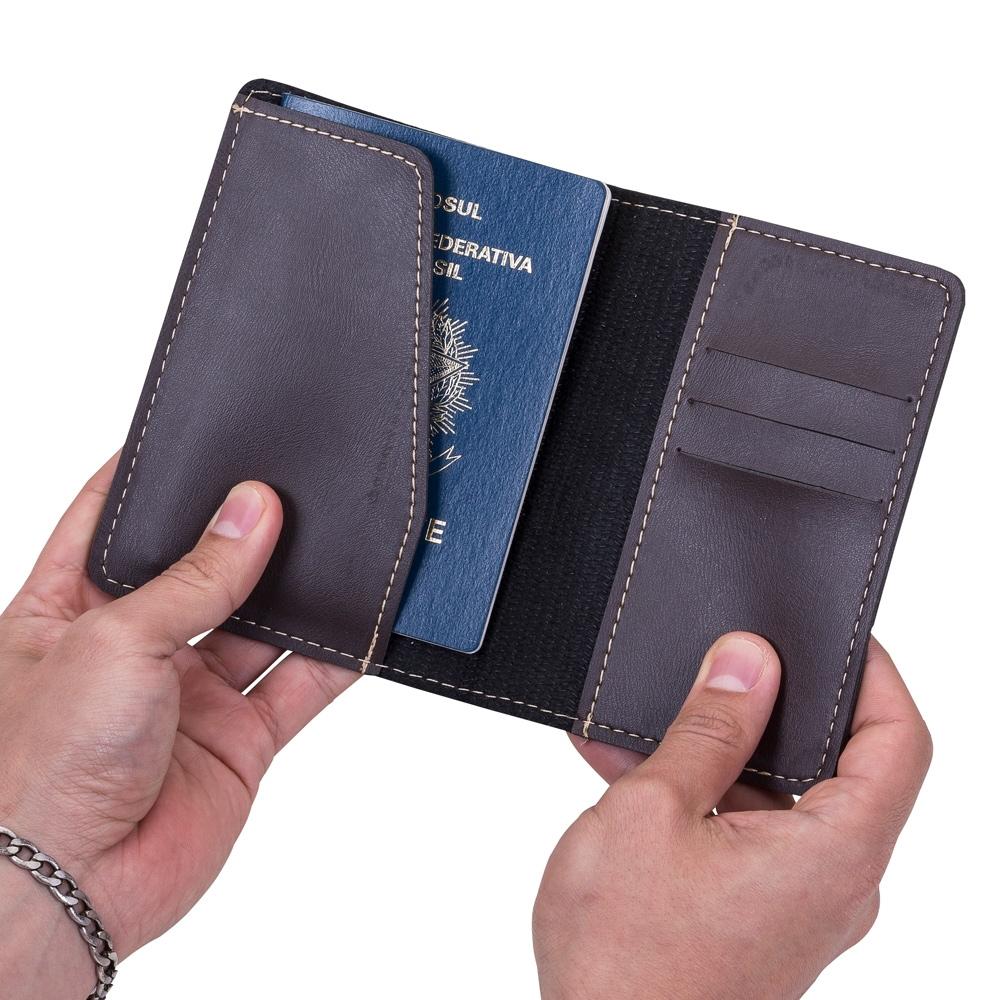 Porta passaporte Bidins em couro sintético