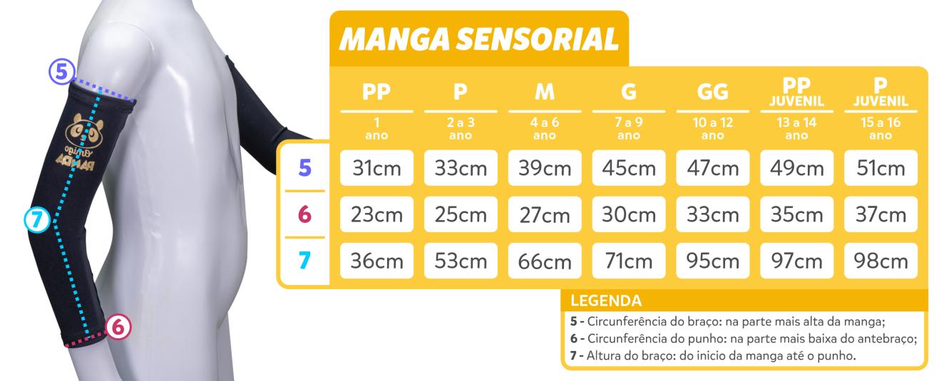 tabela de medidas - Manga Sensorial