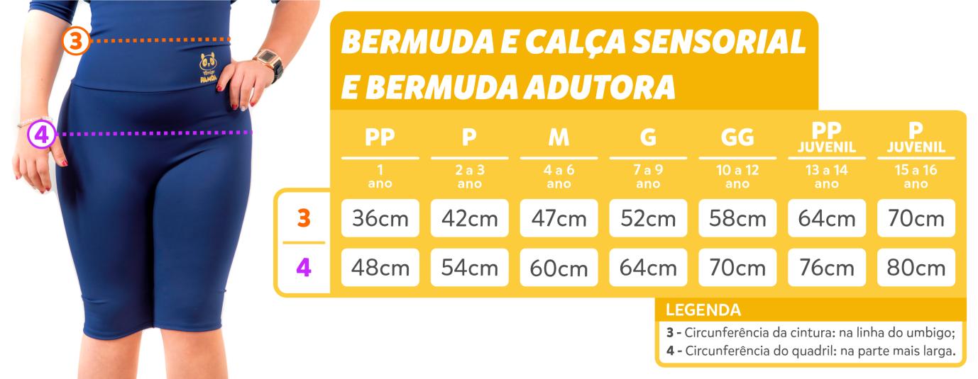 tabela de medidas - bermuda e calça sensorial e bermuda adutora