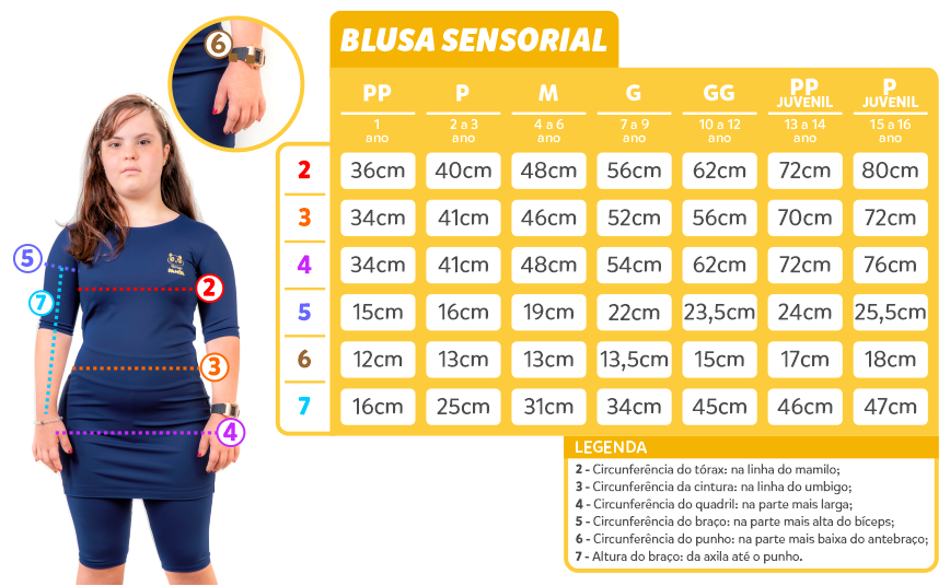 tabela de medidas - blusa sensorial