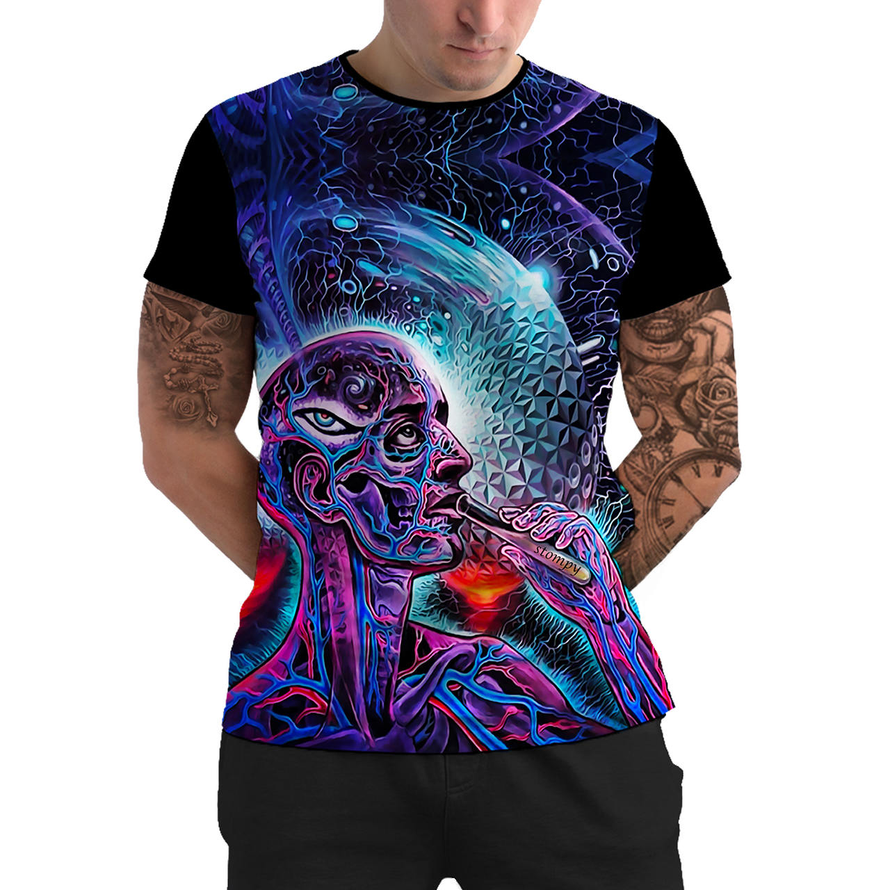 Stompy Camiseta Manga Curta Psicodelica Modelo 05
