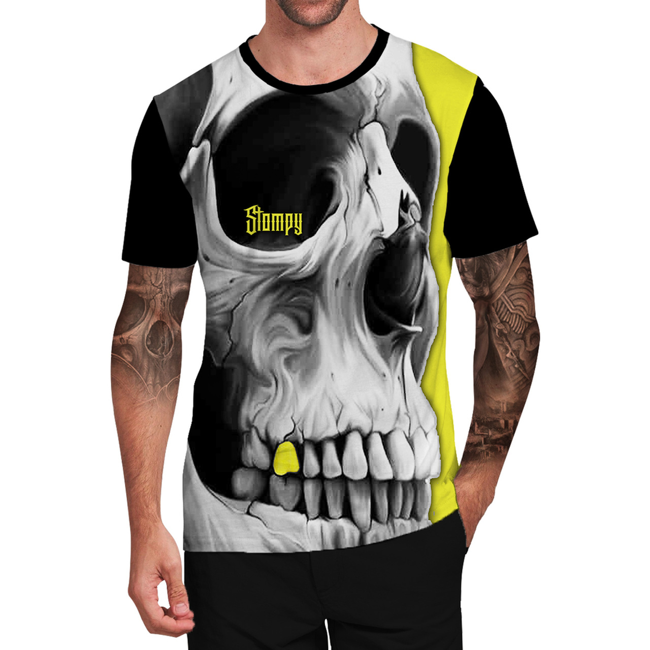 Stompy Camiseta Tattoo Tatuagem Caveira Skull 77