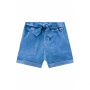 Shorts Infanti Jeans Laço
