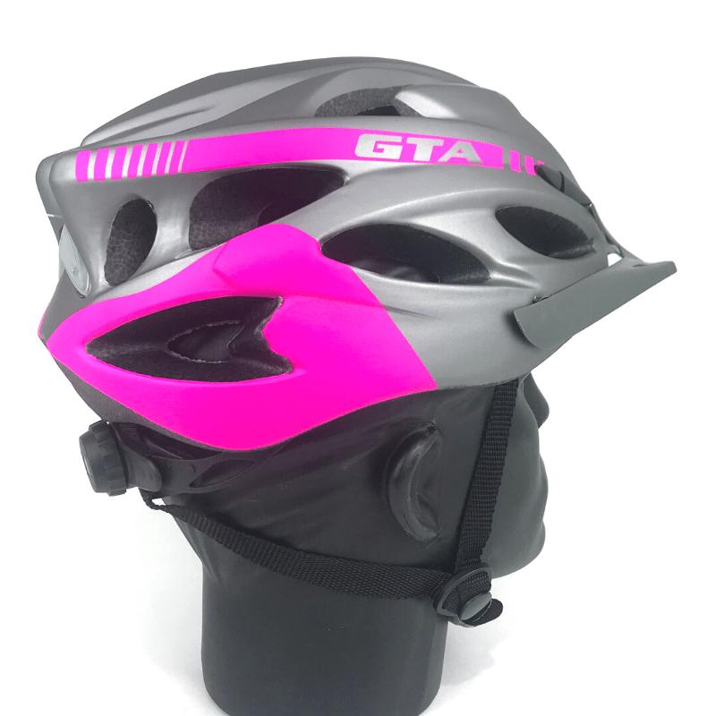 Capacete GTA inmold c/ led - Cinza/Rosa