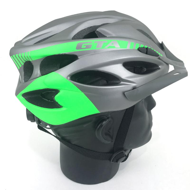 Capacete GTA inmold c/ led - Cinza/Verde
