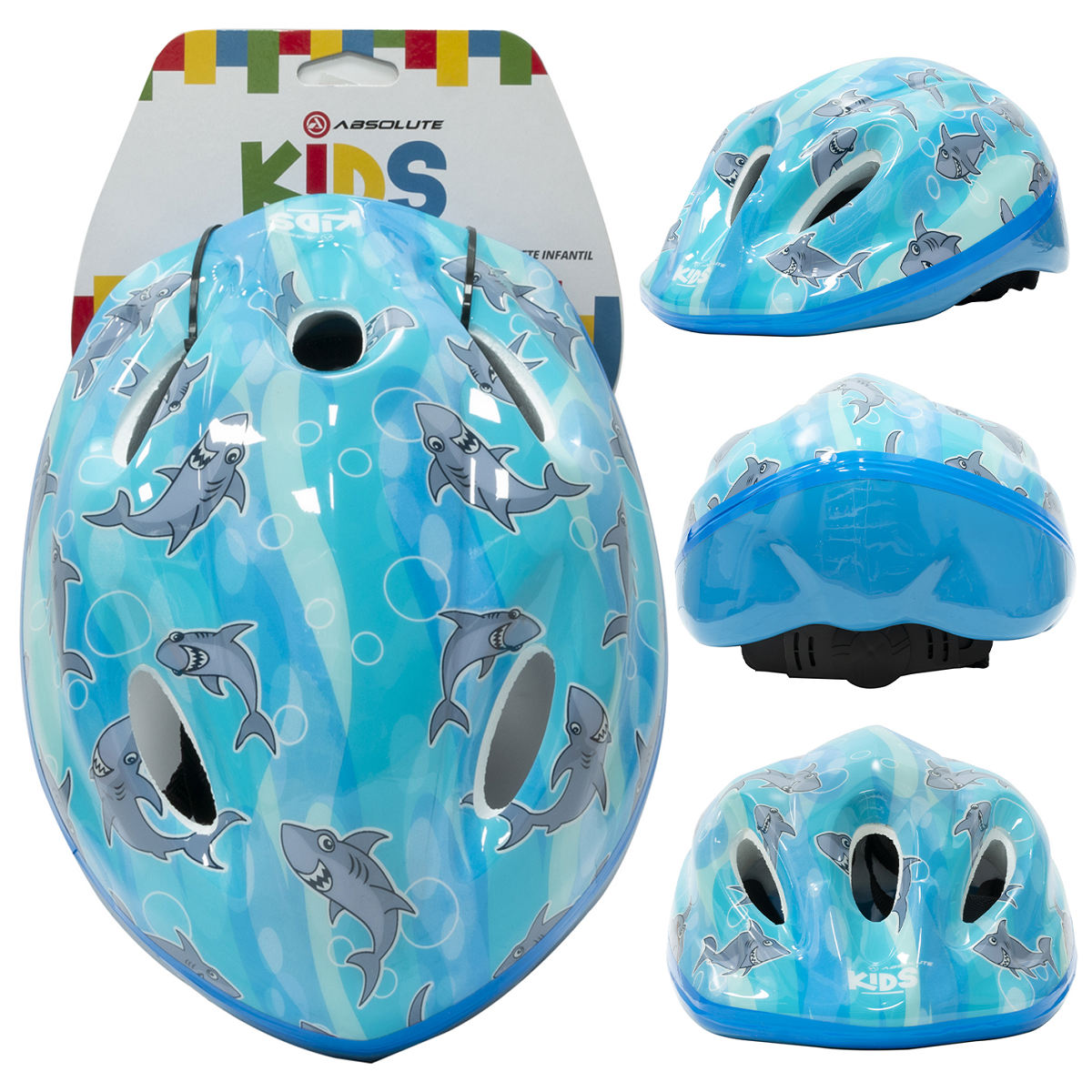 Capacete Infantil Absolute KIDS SHAKE - Azul Tubarão