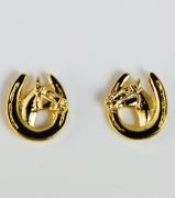 Brincos Ferraduras com Cabeças de Cavalos - Dourado - HER2082
