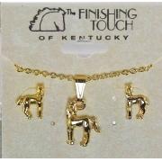 Conjunto colar e brincos - Potrinho dourado - HGS114