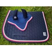 Manta de Salto com touca - Azul marinho com cordão branco, rosa bebê e rosa pink