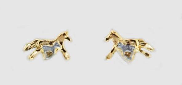 Brincos Égua e Potro - Dourado com prateado