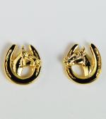 Brincos Pequenos de Ferraduras com Cabeças de Cavalos - Dourado