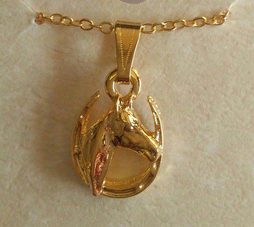Colar Cavalo na Ferradura Dourado