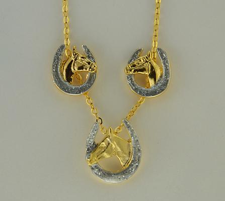 Conjunto colar e brincos - Cavalo na ferradura- HGS515