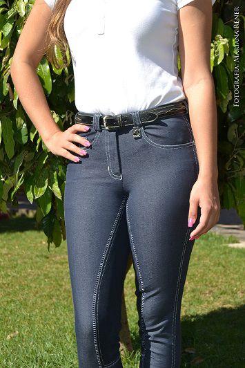 Culote  Cavallus Feminino Full Seat Jeans Bolso Tradicional