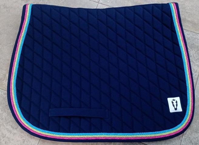Manta de Salto - Azul com cordão azul claro, verde claro e rosa