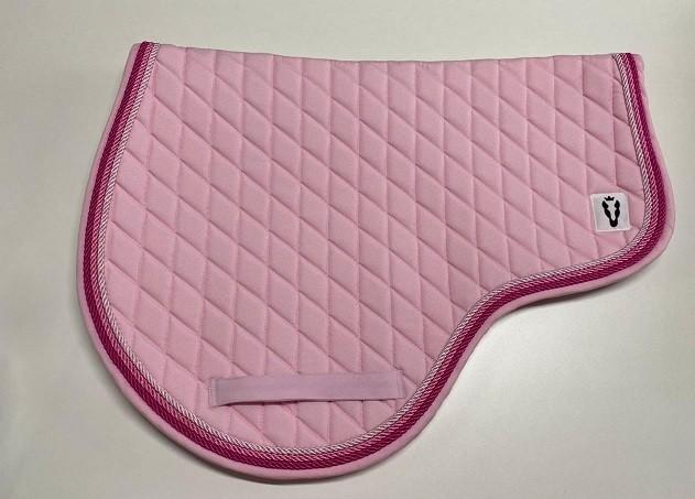 Manta recordada com touca - Rosa bebê (candy) com três tons de cordão rosa