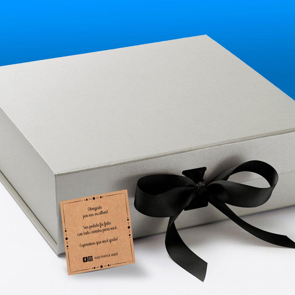 Cartão de Agradecimento 6,5x6,5cm - Fundo Kraft