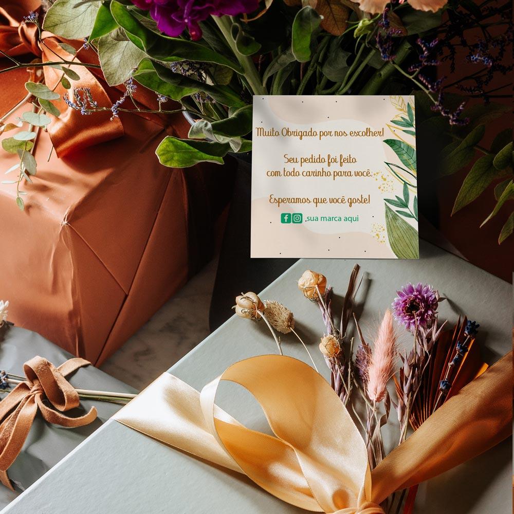 Cartão de Agradecimento 9,5x9,5cm - Fundo Branco ou Colorido