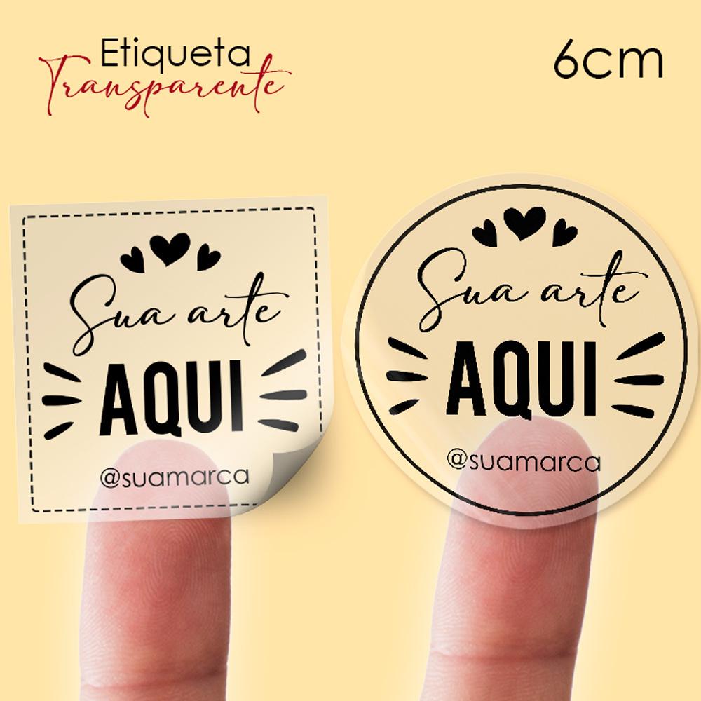 Etiqueta em Vinil Personalizada Transparente 6cm