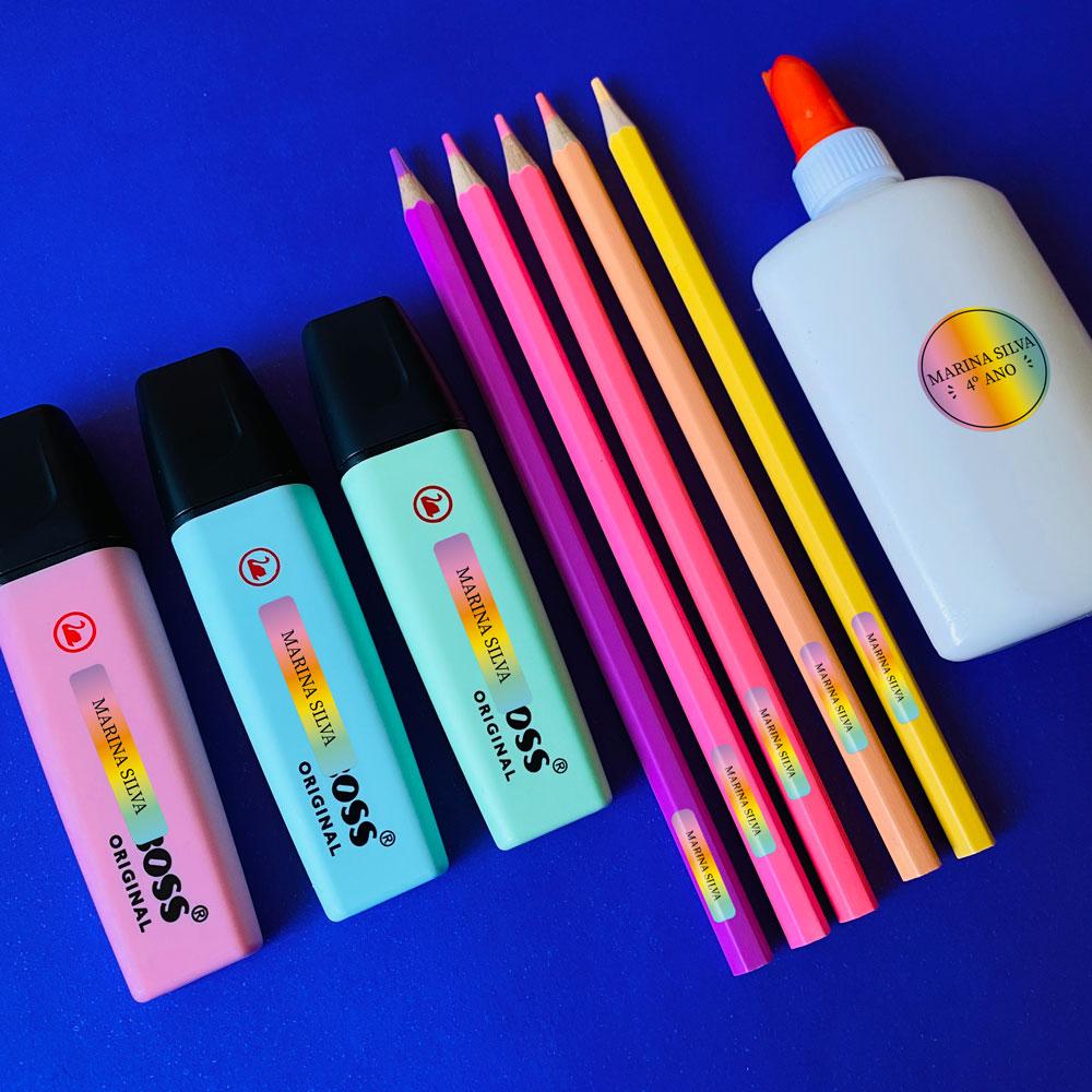 Etiqueta Escolar em Vinil - Tie-Dye Degradê