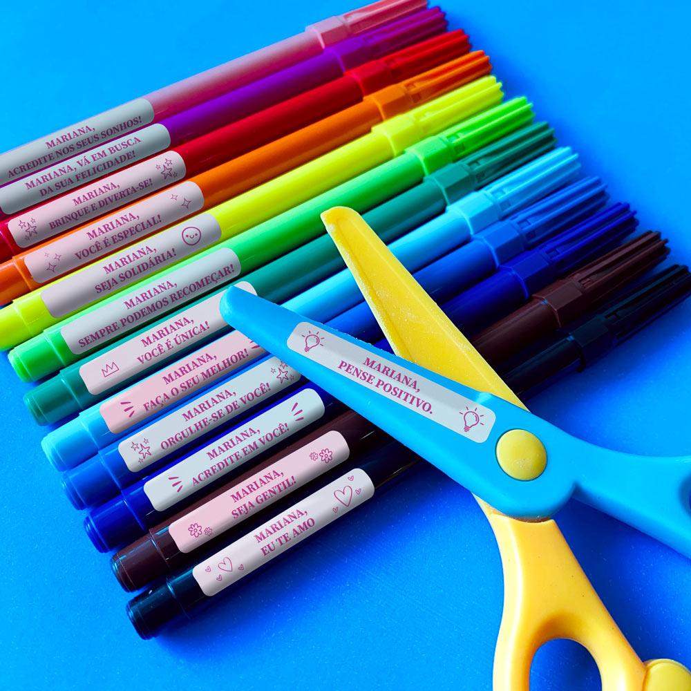 Etiqueta Escolar Motivacional Good Vibes - Tie-Dye Degradê