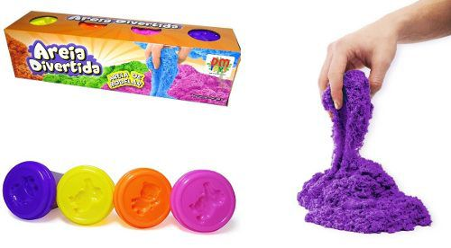 Kit 4 Unid Massinha Areia Magica 4 Potes Em Cada Colorida