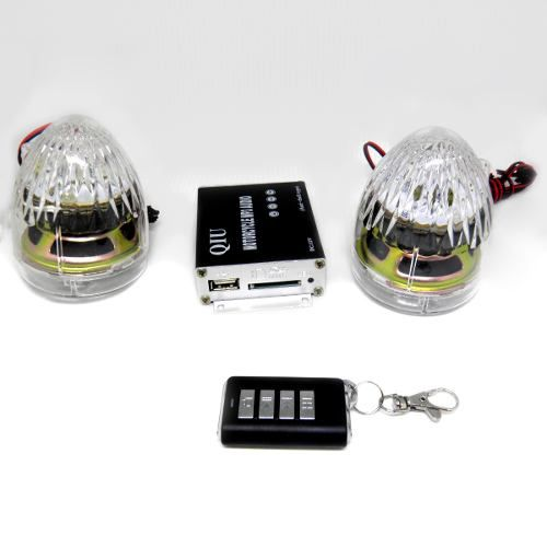 Kit 2 Pares Som Moto Alarme Mp3 Caixa De Som Usb Radio Fm