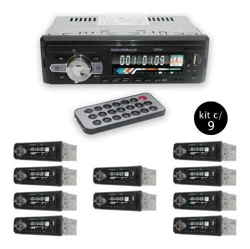 Radio Veicular Bluetooth Kit 9 Fm Carro Sd Pen Aux Mp3 Usb