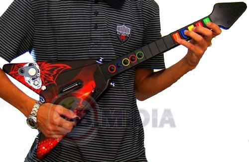Guitarra Super Hero Wireless Ps2 Ps3 PC Sem Fio c/ Adesivos