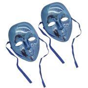 Kit 12 Mascaras Metalizadas Para Carnaval Festa Baile Halloween Fantasia Azul (BL-0258-4)