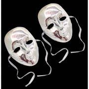 Kit 12 Mascaras Metalizadas Para Carnaval Festa Baile Halloween Fantasia Prata (BL-0258-4)