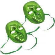 Kit 12 Mascaras Metalizadas Para Carnaval Festa Baile Halloween Fantasia Verde (BL-0258-4)
