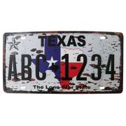 Placa Decorativa de Carro de Metal Alto-Relevo Vintage Retro Texas (93172)