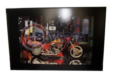 Quadro Decorativo Parede Com Led Ilustrativo Moto Esportiva (GG1288)
