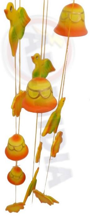Mobile Decorativo Porcelana Pato Folha Sino 72 Cm Decoração
