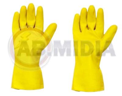 Luvas Higienica Amarelas Limpeza Proteção P/ Mãos Em Latex
