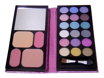 Maquiagem Kit 18 Tons Sombra Blush Rosto Espelho Pincel