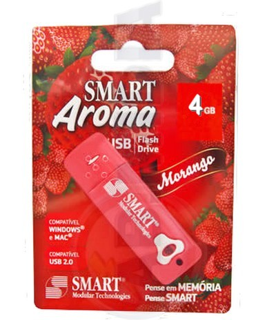 Pen Drive 4gb Aroma De Morango Notebook Computador Smart Usb (PD201)