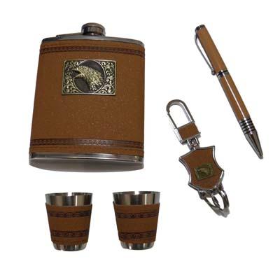 Kit Garrafa De Bolso Portatil Whisky Copinho Chaveiro Caneta (QIU43088)