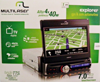 Central Multimidia GPS Automotivo DVD Player TV Digital 7 LCD Retratil  (3156)
