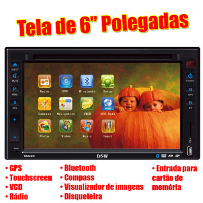 Central Multimidia double din  GPS Bluetooth Disqueteira Bluetooth (DS6120)