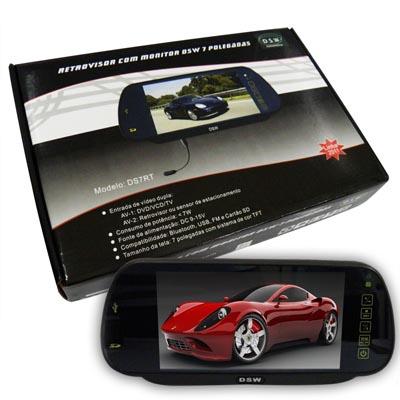 Tela Espelho Retrovisor Lcd 7 Polegadas Carro com monitor Bluetooth DSW 7 Polegadas Infravermelho (DS7RT)