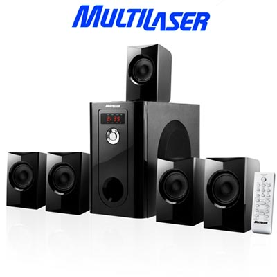 Home Theater 5x1 SD USB FM Subwoofer som dvd controle remoto multilaser (sp070) #M