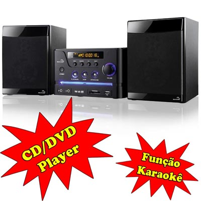 Mini System Dvd Player Multilaser 30w RMS  Karaokê musica familia amigos video (SP127)