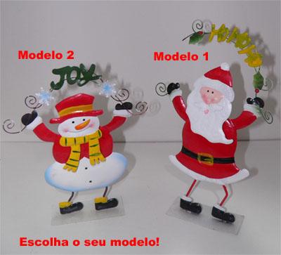 Enfeite Natal Mesa Papai Noel Boneco Neve Festa Natalino Decoracao Metal (NA-16)