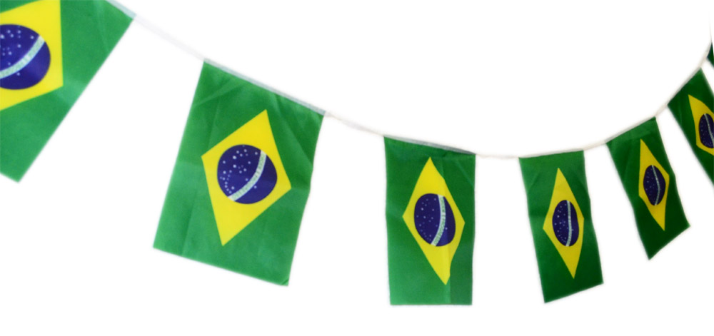 Conjunto 12 Unidades Bandeirola Bandeirao 20 Bandeira Brasil Torcida Copa  do Mundo (2014-57 ... 8ad2720b7d245