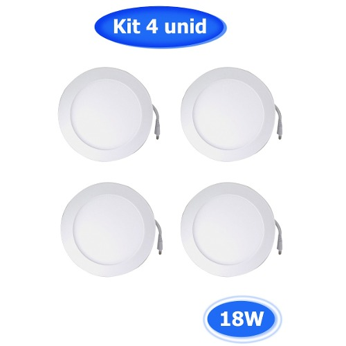 Kit Com 4 Paflon Painel Led 18w Luminaria Teto Sala Parede (90323)